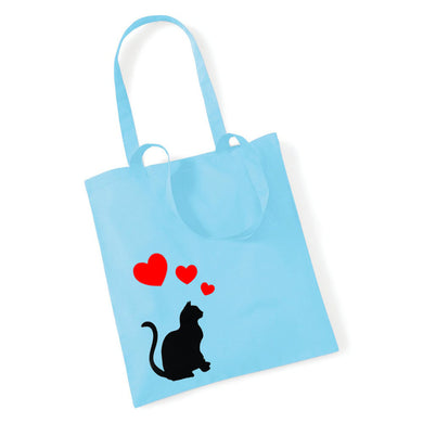 Sitting Cat with Hearts - Tote Bag