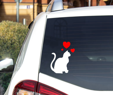Sitting Cat With 3 Hearts - Car Sticker