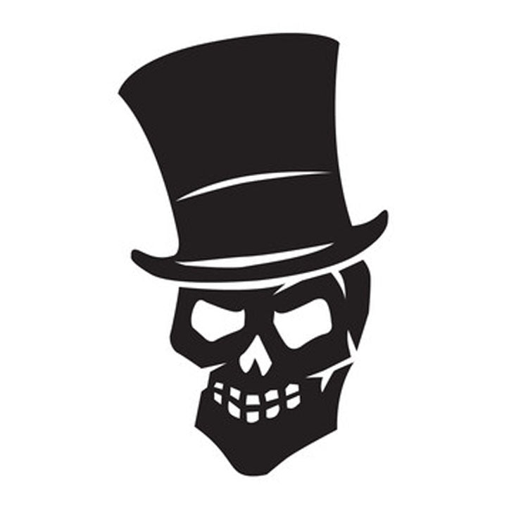 Halloween Vinyl Sticker - Skull Wearing Top Hat