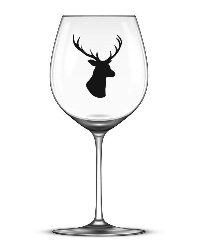 Stag's Head -Set of 4 - Christmas Wine Glass Stickers
