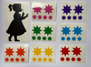 Girl and Boy Blowing Rainbow Starburst Stickers - Create Window Wall Glass Display 7 Colours