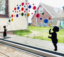 Load image into Gallery viewer, Girl and Boy Blowing Rainbow Starburst Stickers - Create Window Wall Glass Display 7 Colours