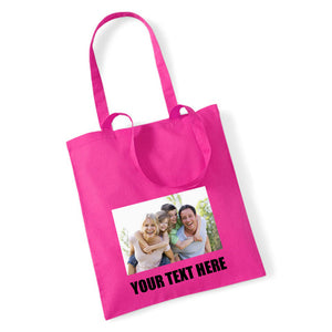 Personalised Photo Tote Bag - With Text