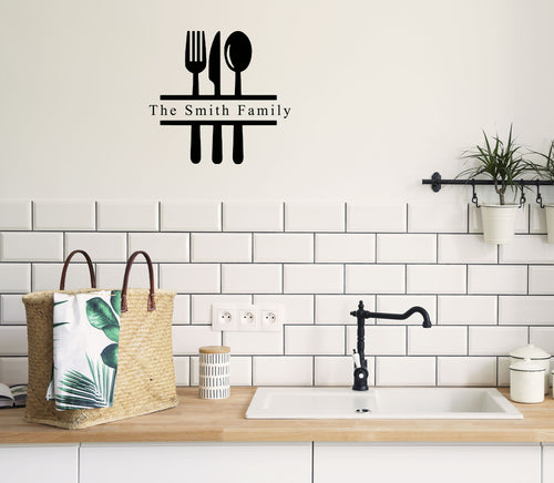 Personalised Family Name With Utensils - Kitchen Dining Wall Art