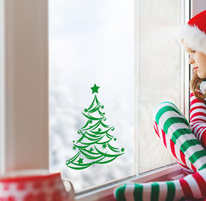 Christmas Tree With Stars - Christmas Wall / Window Sticker