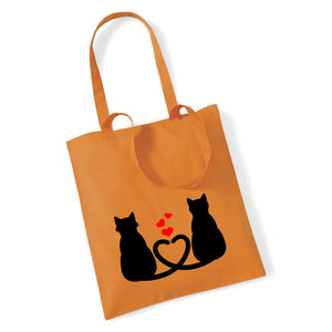 Two Cats With Hearts - Tote Bag