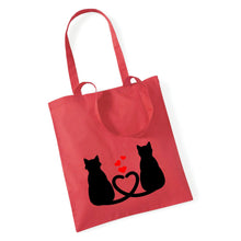 Load image into Gallery viewer, Two Cats With Hearts - Tote Bag