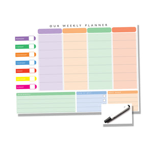 Weekly Family Planner - Wipe Clean - Hanging or Magnetic