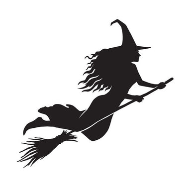 Halloween Vinyl Sticker - Witch on a Broomstick