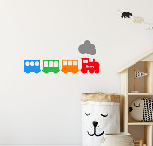 Wooden Train with Carriages Personalised Wall Sticker