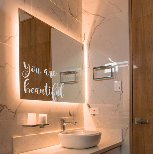 You Are Beautiful Etched Sticker - Bathroom Vinyl Sticker