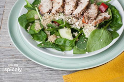 Greek Salad with Quinoa and Za'atar Grilled Chicken