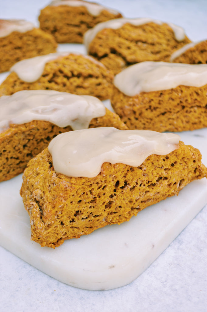 Pumpkin Scones with Maple Cream Cheese Frosting