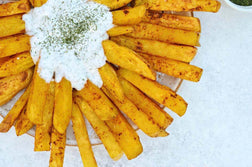 "Curry Baked Fries and Dill ""Yogurt"" Dipping Sauce"