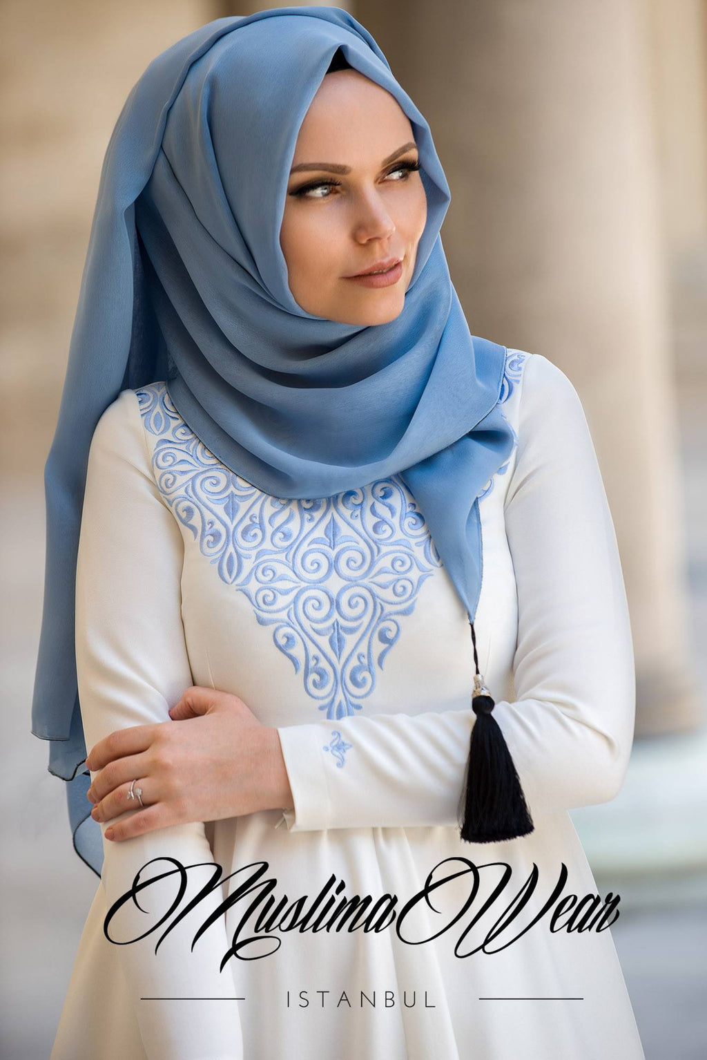 MW Hijab with Tassels Color: Mist Blue - Muslima Wear