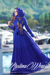 PURE COTTON EMBROIDERY DRESS ROYAL BLUE - Muslima Wear