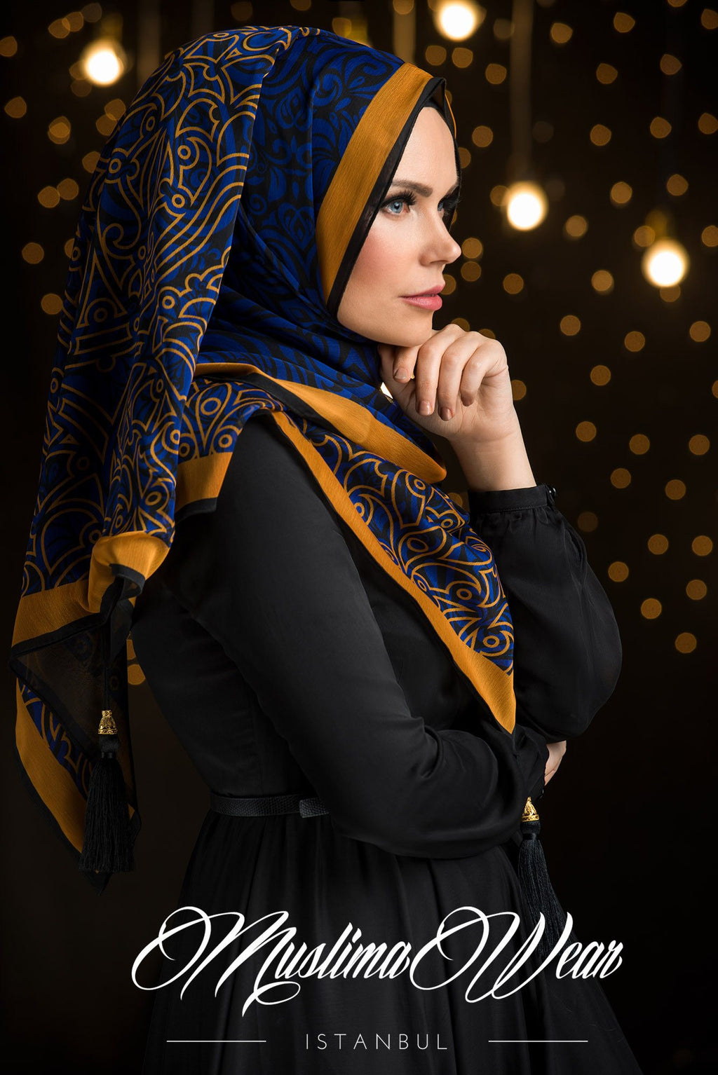Sultan Hijab Gold and Royal Blue
