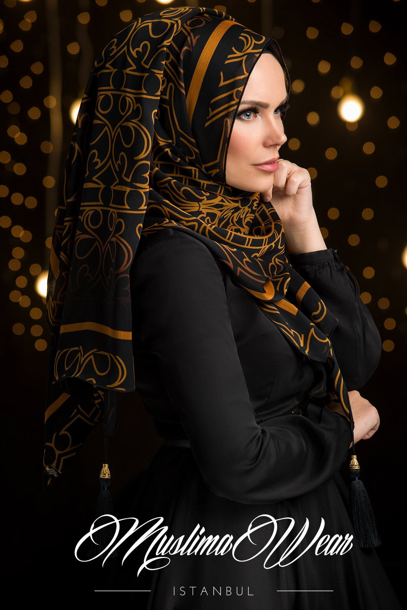 Sultan Hijab Golden Pattern - Muslima Wear