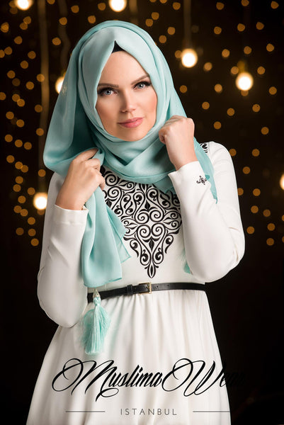 MW Hijab with Tassels Color: Mint