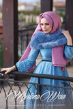 Muslima Wear Chiffon Silver Blue Dress