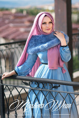 Muslima Wear Silver Blue Chiffon Dress 2