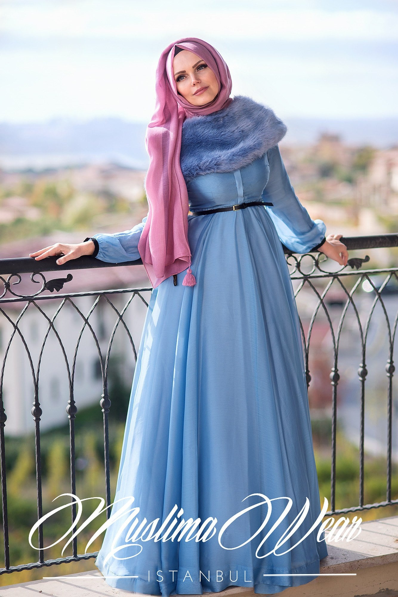 Muslima Wear Silver Blue Chiffon Dress 3