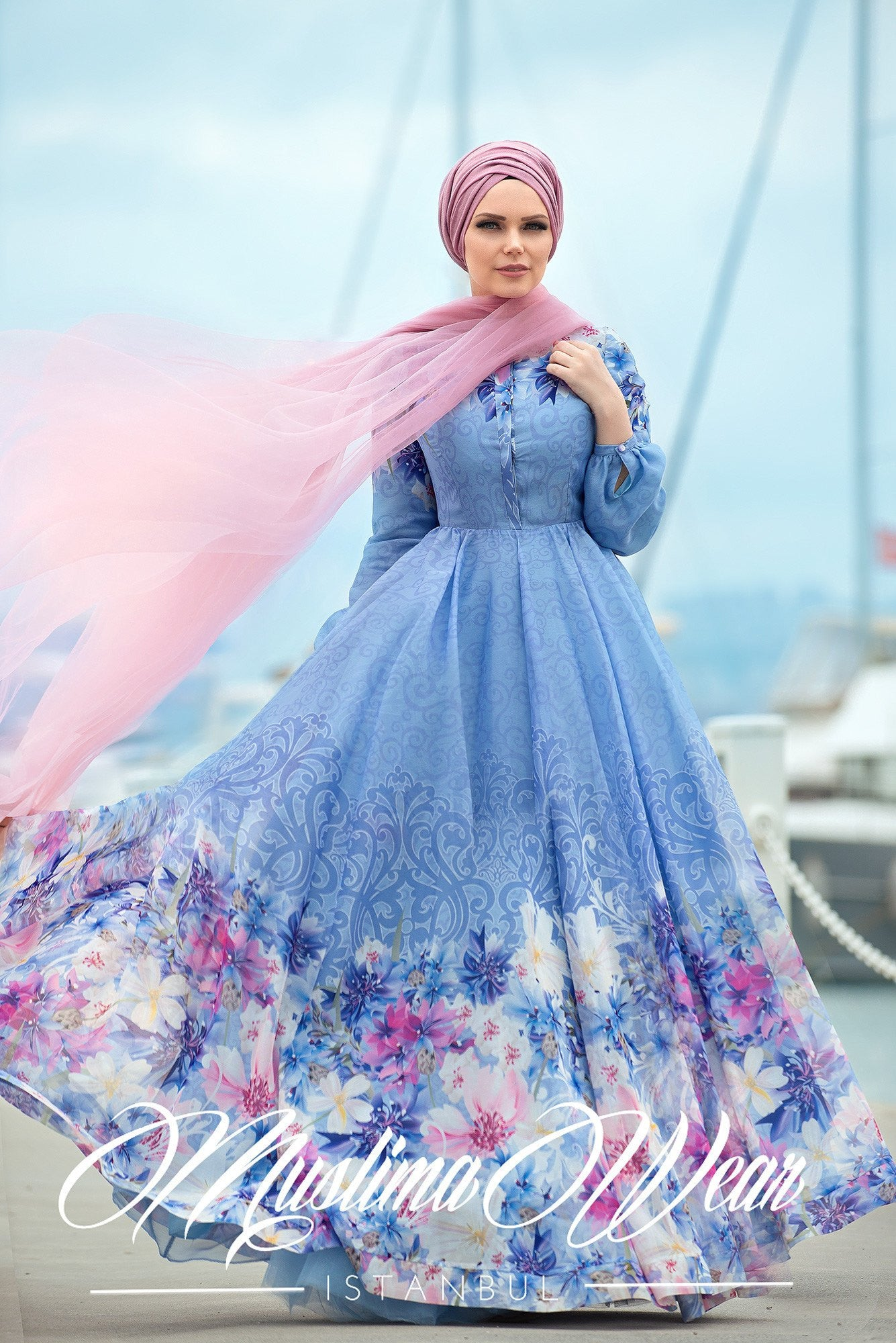 Muslima Wear 2016  -  Giardino Chiffon Blue Dress - Muslima Wear