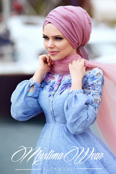 Muslima Wear 2016  -  Giardino Chiffon Blue Dress