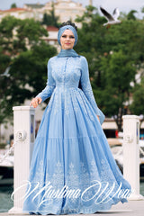 PURE COTTON EMBROIDERY DRESS MIST BLUE - Muslima Wear