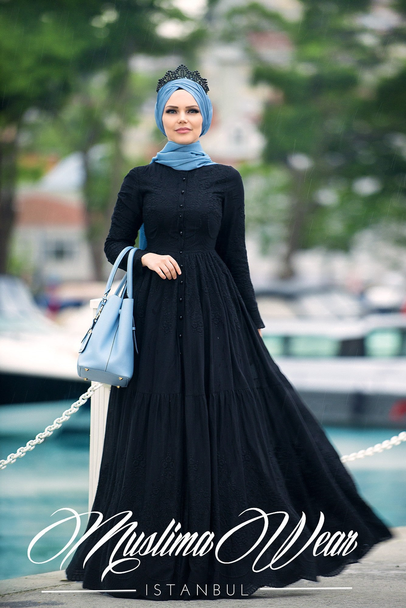 PURE COTTON EMBROIDERY DRESS BLACK - Muslima Wear