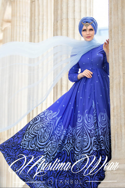 Muslima Wear 2016  -  LADY BLUE DOTTED DRESS