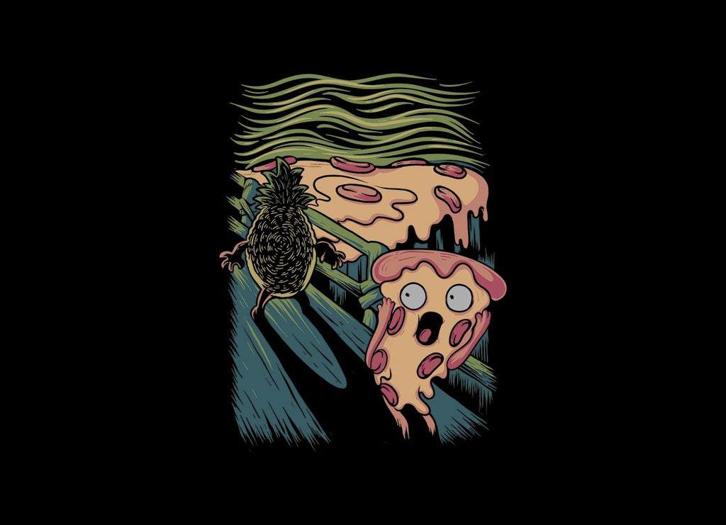 Threadless - PIZZA NIGHTMARE Black T-Shirt by Angdzu