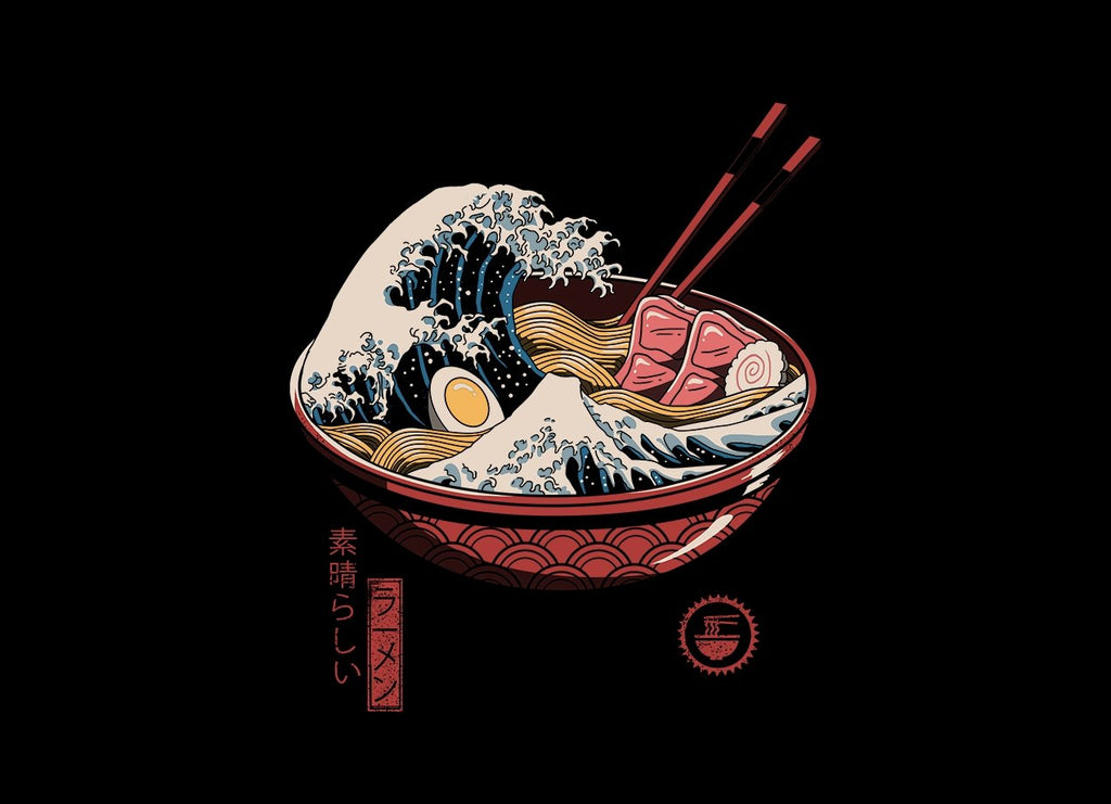 Threadless - GREAT RAMEN WAVE Black T-Shirt by Vincent Trinidad