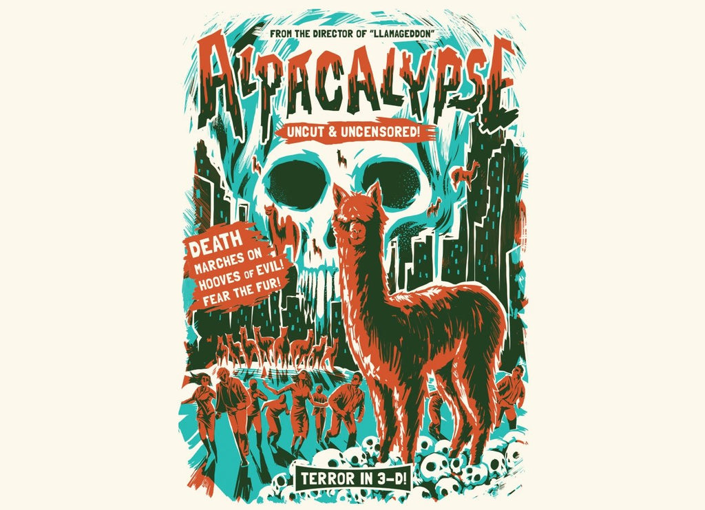 Threadless - ALPACALYPSE! White T-Shirt by David Maclennan