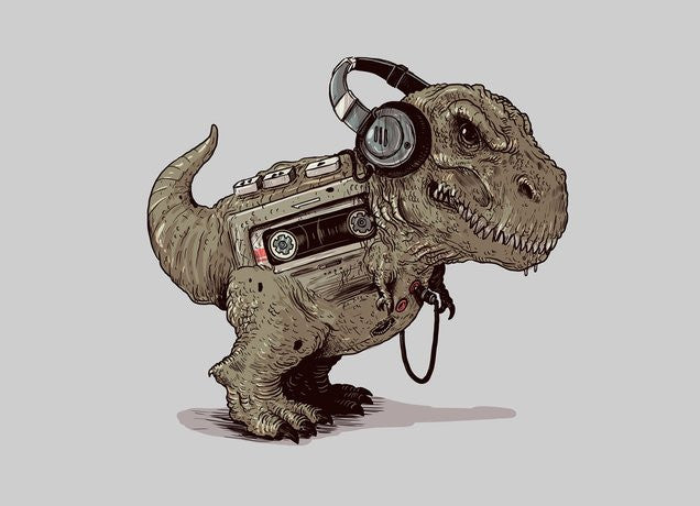 Threadless - TYRANNOSAURUS WALKMAN Grey T-Shirt by Alex Solis