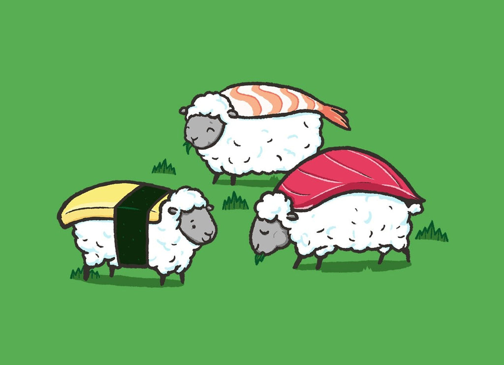 Threadless - SUSHEEP! Green T-Shirt by Darel Seow
