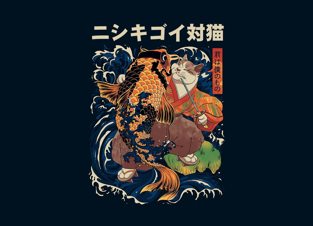 Threadless - THE CAT AND THE KOI Navy T-Shirt by Roni Saptoni