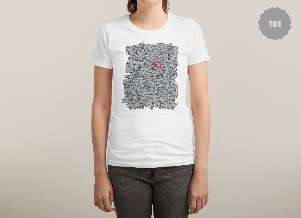 Threadless - THE PINK PACHYDERM White T-Shirt by Jonah Makes Artstuff