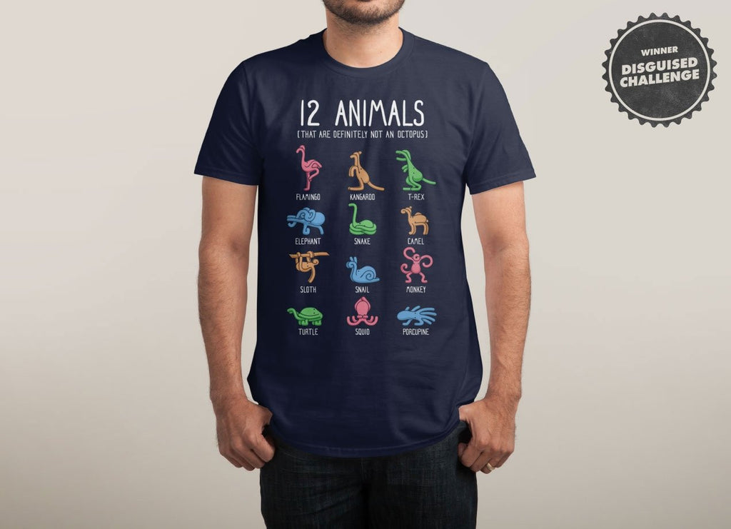 Threadless - 12 ANIMALS Navy T-Shirt by Gabe Pyle