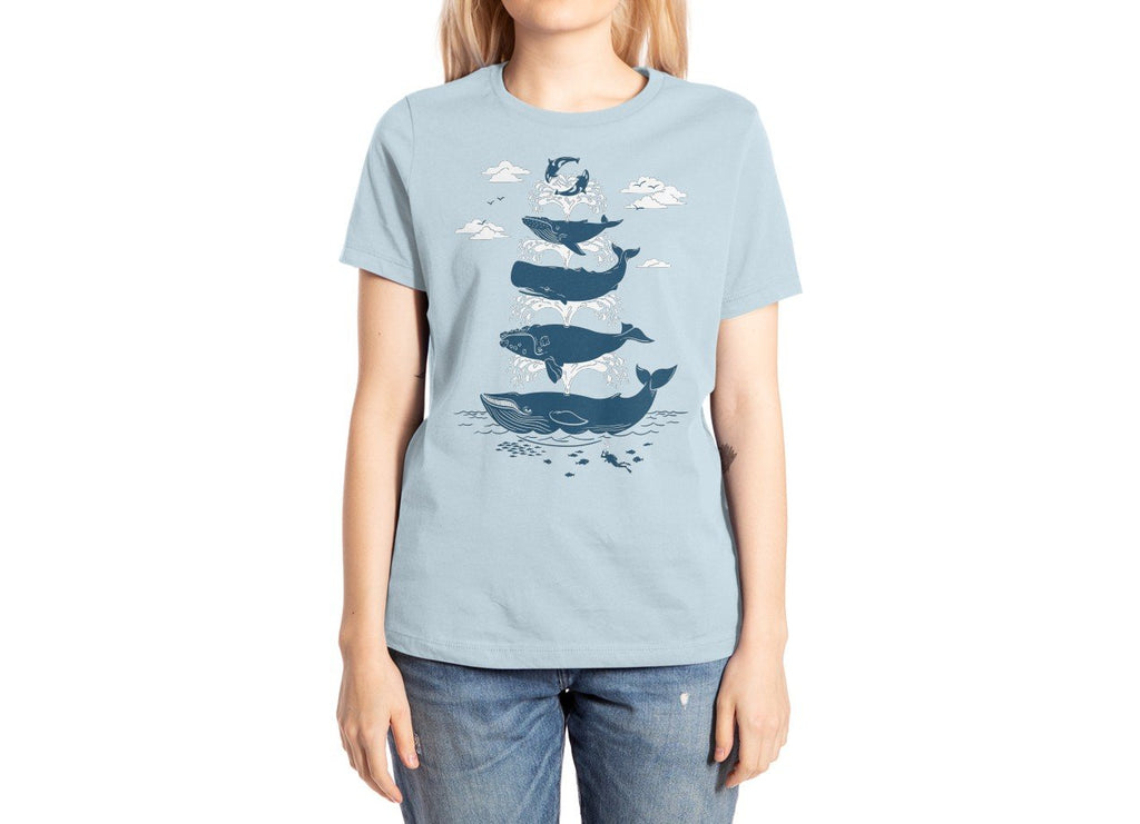 Threadless - WHALE OF A TIME Light Blue T-Shirt by Christopher Philips