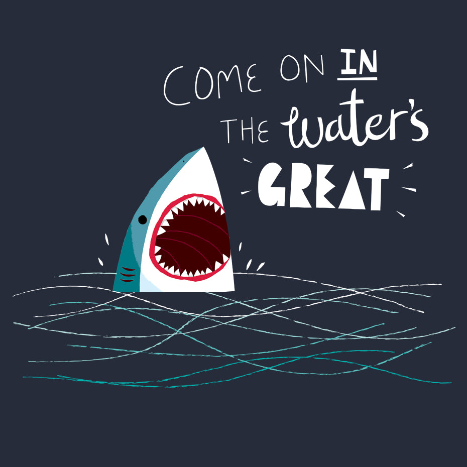 Artokingo - Great Advice Shark Navy T-Shirt by Michael Buxton