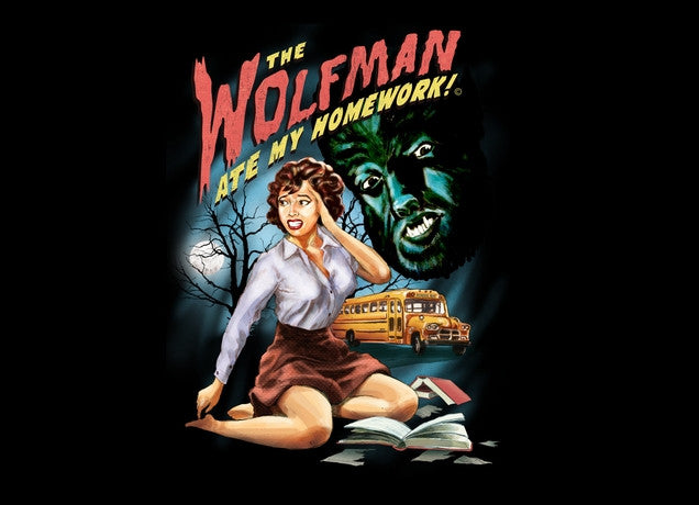 Threadless - THE WOLFMAN ATE MY HOMEWORK! Black T-Shirt by Steven Rhodes