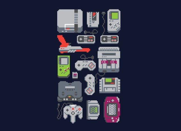 Threadless - A PIXEL OF MY CHILDHOOD Navy T-Shirt by Rufino Nakamura