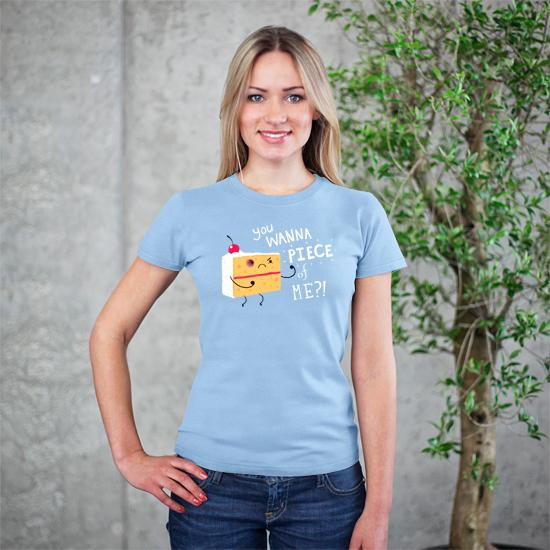 Artokingo - Angry Cake Light Blue T-Shirt by Michael Buxton