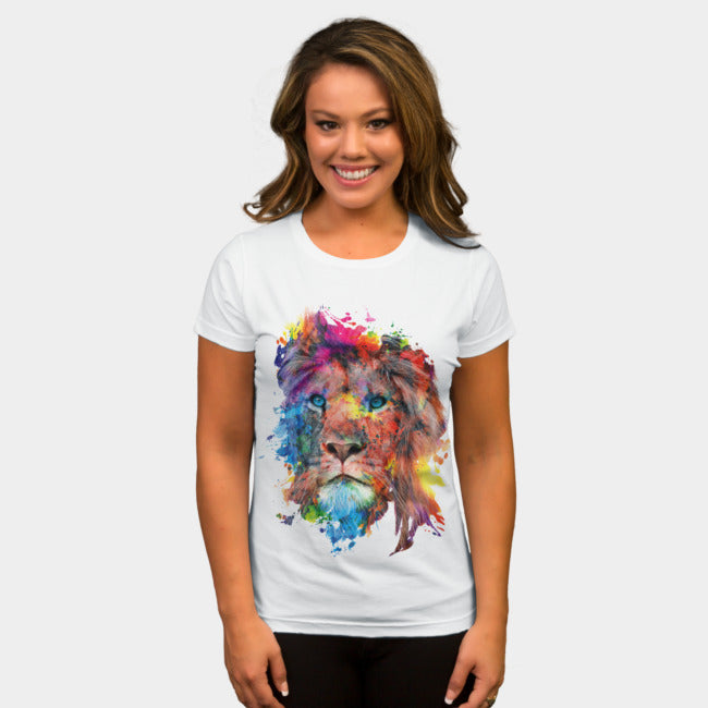 Design By Humans - Lion White T-Shirt by RizaPeker