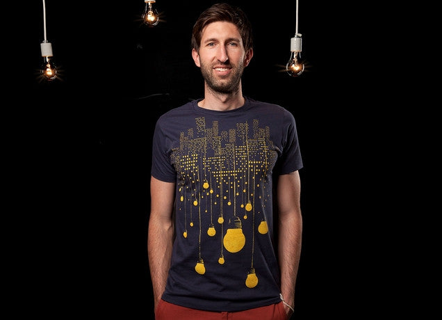 Threadless - THE HANGING CITY Navy T-Shirt by Tang Yau Hoong