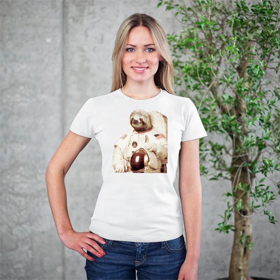Artokingo - Astronaut Sloth White T-Shirt by Bakus