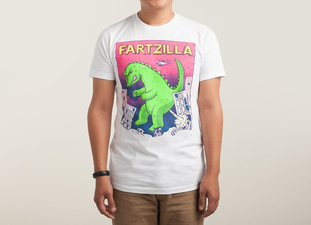 Threadless - FARTZILLA White T-Shirt by FatMax