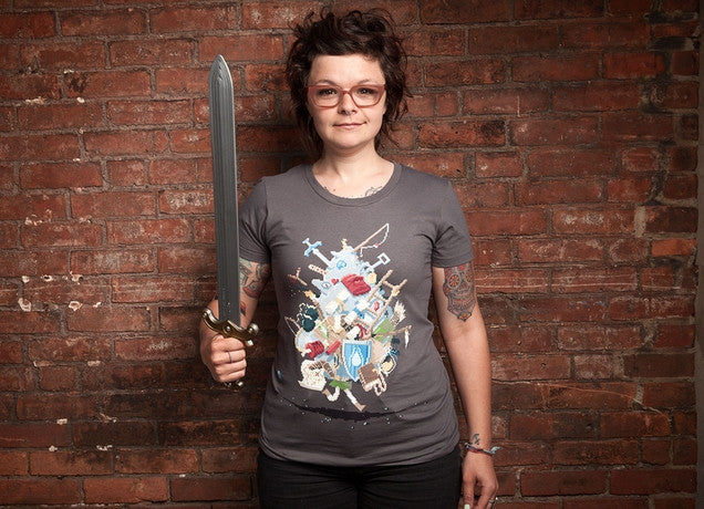 Threadless - IT'S DANGEROUS TO GO ALONE! TAKE THIS Grey T-Shirt by Stacy Eyles