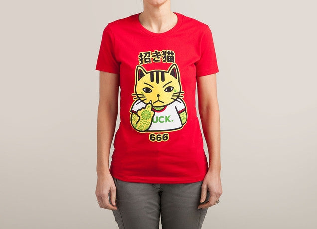 Threadless - UNLUCKY CAT Red T-Shirt by Jeffrey Clarence